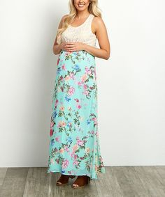 PinkBlush Mint & Pink Floral Maternity Maxi Dress