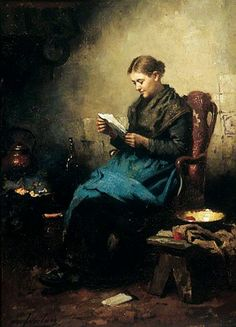 YOUNG GIRL READING, by Johannes Weiland