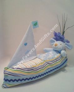 Sail Boat Diaper Cake - 9990082 - Baby Boy - Diaper Cakes - by Babyfavorsandgifts