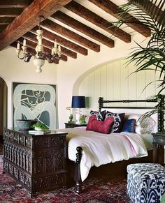 Bohemian Style Interiors, Living Rooms and Bedrooms. THIS IS THIS IS OUR FAVORITE BED! We like how open it is yet it is ALSO sq. it has spindles and it incorporates leather in a reasonable necessary way. Do you like it? Do you think it will work in our room? The only thing we want to change is to lower the finnels at the foot a few inches so Jeff doesn't hurt his ankles.