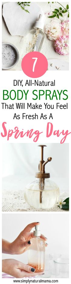 I love the way spring smells, like fresh flowers and herbs! And I am so excited that I can save money by making my own, all-natural body sprays. I am so excited for this DIY project! via @simplynaturalma