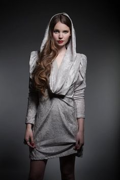 loving the goth feel - Frost Dress, Dress, cowl hooded crushed velvet, Bohemian (Boho) / Hippie Club Dresses, Sexy Dresses, Nice Dresses, Prom Dresses, Silver Cocktail Dress, Stylish Hoodies, Nye Dress, Unique Clothes For Women, Hooded Dress