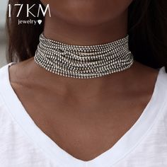 d4c37fdfe Multiple layers Rhinestone Crystal Choker Necklace for Women Bijoux Maxi  Statement Necklaces Collier Fashion Jewelry