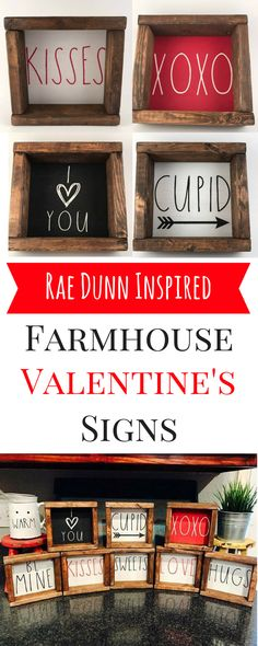 These Rae Dunn inspired rustic wood signs are perfect for Valentine's Day! They would look great as part of a Rae Dunn coffee bar in a farmhouse kitchen or dining room! #affiliatelink  http://shopstyle.it/l/uzxS