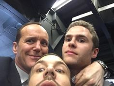 Clark Gregg, Iain De Caestecker and Nick Blood bts of Agents of S.H.I.E.L.D.