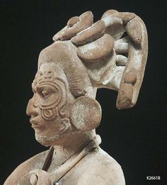 Justin Kerr image: Image: File date: Caption: Jaina Figure Description: Maya, Jaina seated figure wearing shell pendant and scarification on face. Maya Civilization, Inka, Aztec Art, Mexican Art, Ancient Artifacts, Ancient Civilizations, Native American Art, Art History, European History