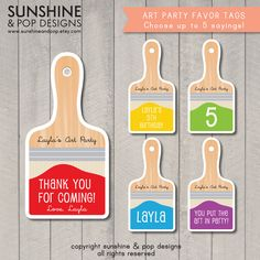 PERSONALIZED Rainbow Art Party Paint Brush Printables for Cupcake Toppers, Gift Tags, Party Favors, Food Labels, and More.
