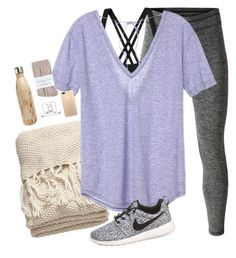 """traveling all day"" by brooklm ❤️ liked on Polyvore featuring MANGO, H&M, Patagonia, Victoria's Secret, Happy Plugs, Johnstons, S'well and NIKE"