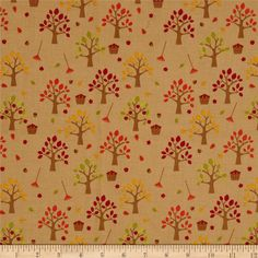 Riley Blake Happy Harvest Orchard Brown from @fabricdotcom  Designed by Doodlebug Designs for Riley Blake Designs, this fabric is perfect for quilting, apparel and home decor accents. Colors include brown, red, orange, yellow, green, fuchsia and kraft bag brown.