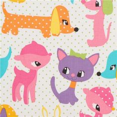 white baby animal fabric Michael Miller pink-purple