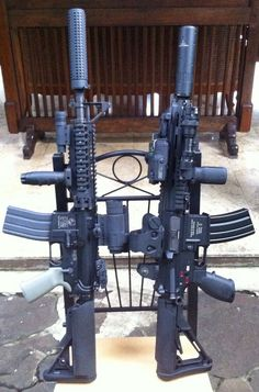 rifles in with silencers Tactical Equipment, Tactical Gear, Airsoft Gear, Revolver, Ar Rifle, Ar Build, Weapon Of Mass Destruction, Assault Rifle, Cool Guns