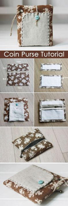 How To Sew A Zipper Coin Purse. DIY tutorial in pictures. http://www.handmadiya.com/2015/10/zipper-coin-purse-tutorial.html