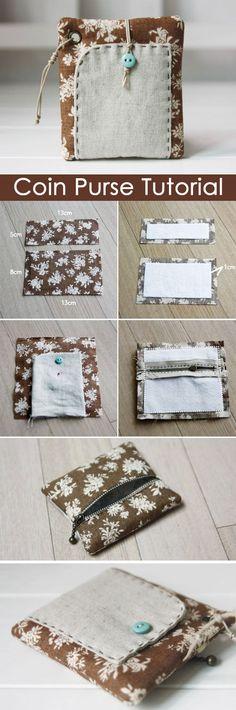How To Sew A Zipper Coin Purse. DIY tutorial in pictures.  http://www.handmadiya.com/2015/10/zipper-coin-purse-tutorial.html