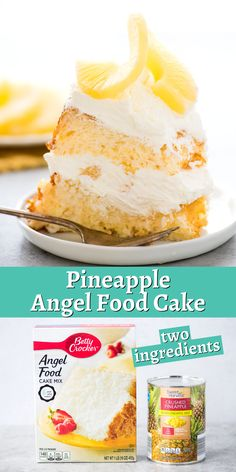Pineapple angel food cake is easy to make with only TWO ingredients! Take your angel food cake to the next level by cutting it in half and layering whipped cream and pineapple pieces inside! #pineappleangelfoodcake #angelfoodcake