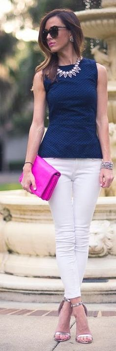 Gap Blue Eyelet Peplum Tank Top by Sequins & Things,white jeans, hot pink pops