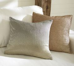 nice color combo for living room (but don't like beading or ombre) Beaded Ombre Pillow Cover #potterybarn
