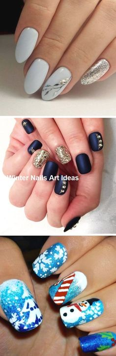 32 Great Ideas Nail Art Design for Wintry Mood 2 - Nails Art Ideas Nail Art Diy, Easy Nail Art, Diy Nails, Cute Nails, Pretty Nails, Winter Nail Art, Winter Nails, Types Of Nails, Cute Nail Designs