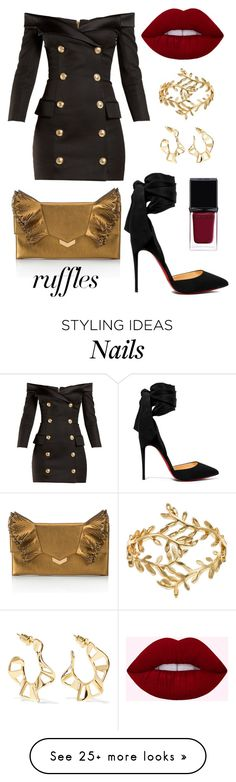 """Untitled #14"" by beacraven on Polyvore featuring Balmain, LC Lauren Conrad, Christian Louboutin, Jimmy Choo, Arme De L'Amour, Givenchy, ruffles and RuffLyfe"
