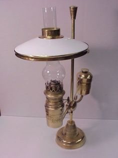 1800's Brass Student Oil Lamp