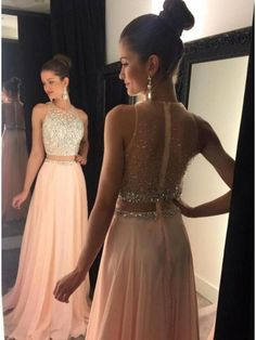 Beaded Two Pieces See Through Long Prom Evening Formal Dresses 99602115