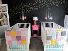 Twin nursery that is simple and sweet with a modern flair and a chalkboard wall backsplash!