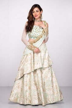 Abhilasha ~ Mint Green Lehenga Set With Attached Dupatta Indian Wedding Gowns, Indian Gowns, Indian Outfits, Wedding Dress, Party Wedding, Saree Gown, Anarkali Dress, Gown Dress, Anarkali Suits