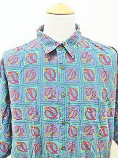 Vintage 80s Crazy Pattern Print Paisley Geometric Outsized Shirt XL