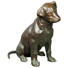 Gorham Foundry Bronze Dog By Helen Morton   From a unique collection of antique and modern sculptures at https://www.1stdibs.com/furniture/decorative-objects/sculptures/