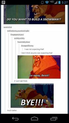 Beauty and the Beast meets Frozen. Wrong words but still funny Disney Pixar, Disney Memes, Disney Marvel, Disney Quotes, Disney And Dreamworks, Walt Disney, Disney Love, Disney Magic, Disney Stuff
