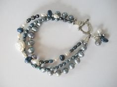 Blue, White and Silver Freshwater Pearl Bracelet by LostElephantDesigns