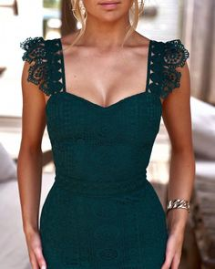 wedding guest outfit Custom sexy party dress lace evening dress simple and elegant wedding guest dress from customdresskoko Elegant Dresses For Women, Pretty Dresses, Pretty Outfits, Lace Midi Dress, Dress Up, Green Dress Outfit, Strapless Dress, Lace Evening Dresses, Formal Dresses