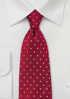 Krawatte Tupfen kirschrot weiß