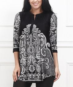 Another great find on #zulily! Black & White Lace-Print Notch Neck Tunic - Plus #zulilyfinds