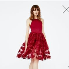 Maje 5RALPH Embroidery Flowers Ball Dress - NWT Brand New with Tags and receipt Maje 5RALPH embroidery dress in Rosso. Limited edition Maje tank dress that is now SOLD OUT everywhere. French sizing. Size 3 = Medium/Large or 8/10. Maje Dresses Mini