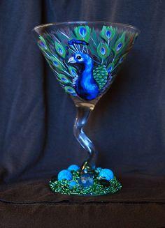 Peacock painted martini glass by drinkwildturkey