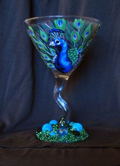 Peacock painted martini glass by drinkwildturkey