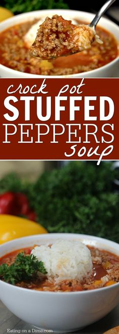 Crockpot Stuffed Peppers Soup is so easy to make and tastes delicious. You will love this stuffed pepper soup crock pot recipe.