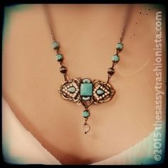 Upcycled Vintage Turquoise Glass & Brass Buckle necklace