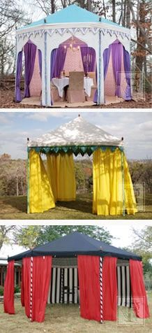 convert a modern gazebo into a medieval pavilion, with a roof cover, bunting and… Craft Show Displays, Craft Show Ideas, Small Apartment Living Room, Living Rooms, Jasmin Party, Medieval Party, Canopy Tent, Canopies, Pvc Tent