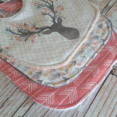 $25.99 Kadydid Designs — Baby Bib Gift Set - Girls Baby Bib - Tribal Baby Bib - Floral Stag Antlers