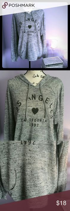 Adorable LOS ANGELES lightweight hoodie! Super cute hoodie! Los Angeles graphic! Heart graphic! California 1992 graphic! Sheer design! Extremely lightweight! Kangaroo pocket! Brand new! Happy Shopping! Stranded Tops Sweatshirts & Hoodies