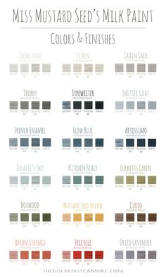 Great visual for milk paint colors! Miss Mustard Seed's Milk Paint Colors & Finishes via The Golden Sycamore
