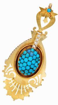 Etruscan Revival Turquoise Diamond Pendant