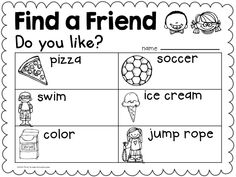 """Back to School activity. Find a Friend. Students ask """"Do you like? questions. Great getting to know your classmates at the beginning of the year for kindergarten children."""