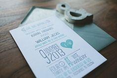 Letterpress Wedding Invitation Modern teal and by WideEyesPaperCo, $3.00