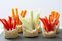 Veggies and dip in a baguette