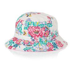 Joules Sunseeker Girls Hat - Cream Floral