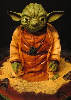 Star Wars Cake - Yoda- Not sure what special occasion other than a birthday this would be for but it's cool for a Star Wars fan/collector.