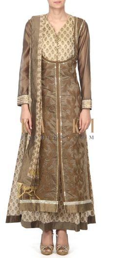 Buy this Cream anarkali suit embellished in threadembroidery only on Kalki