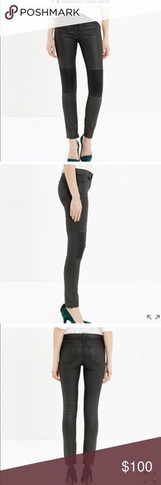 "Madewell moto skinny jeans ""Skinny skinny zip racetrack jeans"". Coated denim. Stretchy. Ankle zippers. Size 24. Never worn. $138 new Madewell Jeans Skinny"